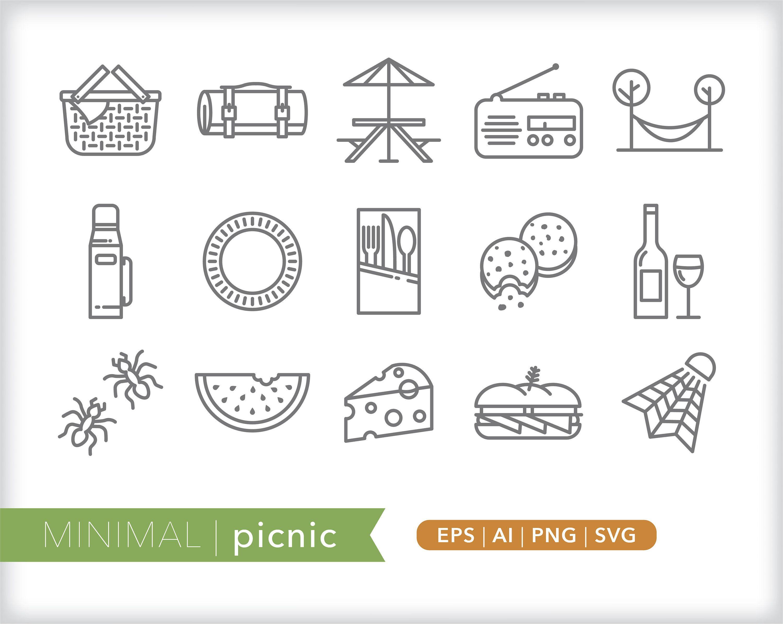 Picnic Icons Food Icon Illustrations Eps Ai Png Digital Etsy In 2021 Illustrator Cs6 Icon Illustration Icon