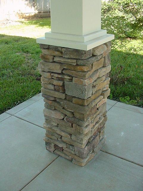 Wood Cap On Rock Column Porch Columns House With Porch Front Porch Stone