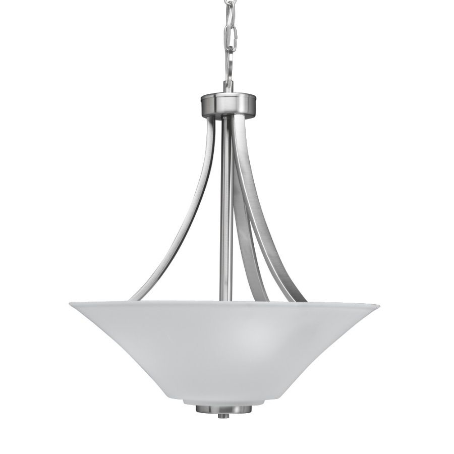Brushed Nickel Pendant Lighting Kitchen Shop Portfolio 18 In W Lyndsay Brushed Nickel Pendant Light With