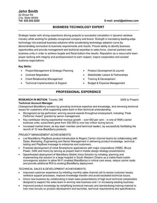 Click Here to Download this Business Technology Expert Resume - technical resume template