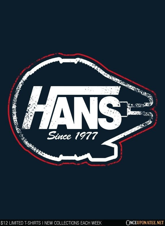 Hans by Warbucks Design is available this week only as a T-Shirt, Hoodie, Phone Case, and more! Available until 6/29 at OnceUponaTee.net starting at $12! #StarWars #HanSolo