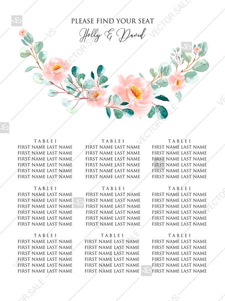Wedding seating chart blush pastel peach rose peony sakura