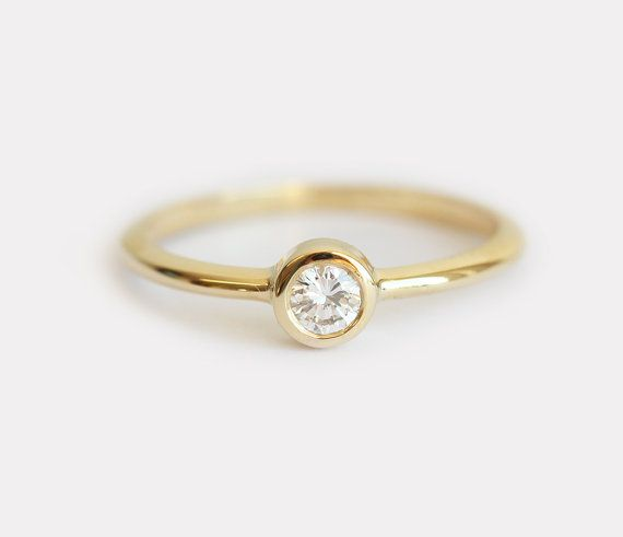 $650 Delicate Diamond Ring Delicate Engagement Ring Simple by MinimalVS