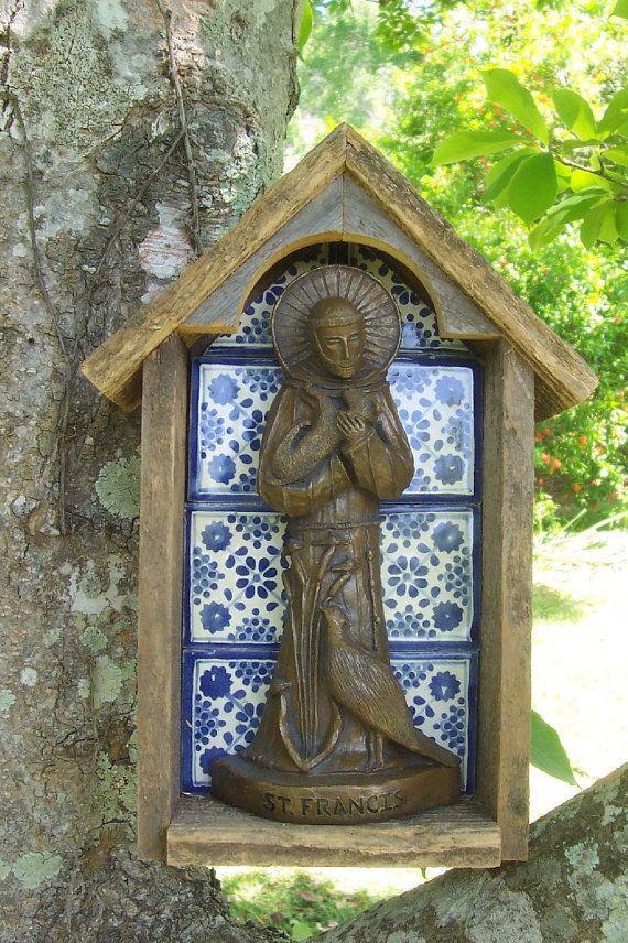 Handmade Wood And Tile Niche With Handmade Statue Of Saint