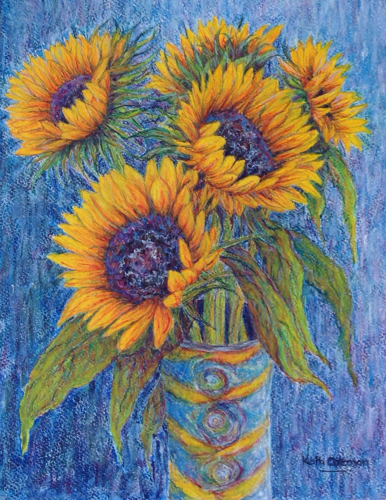 Sunflowers In Linda S Vase By Kath Coleman Watercolour Pencil