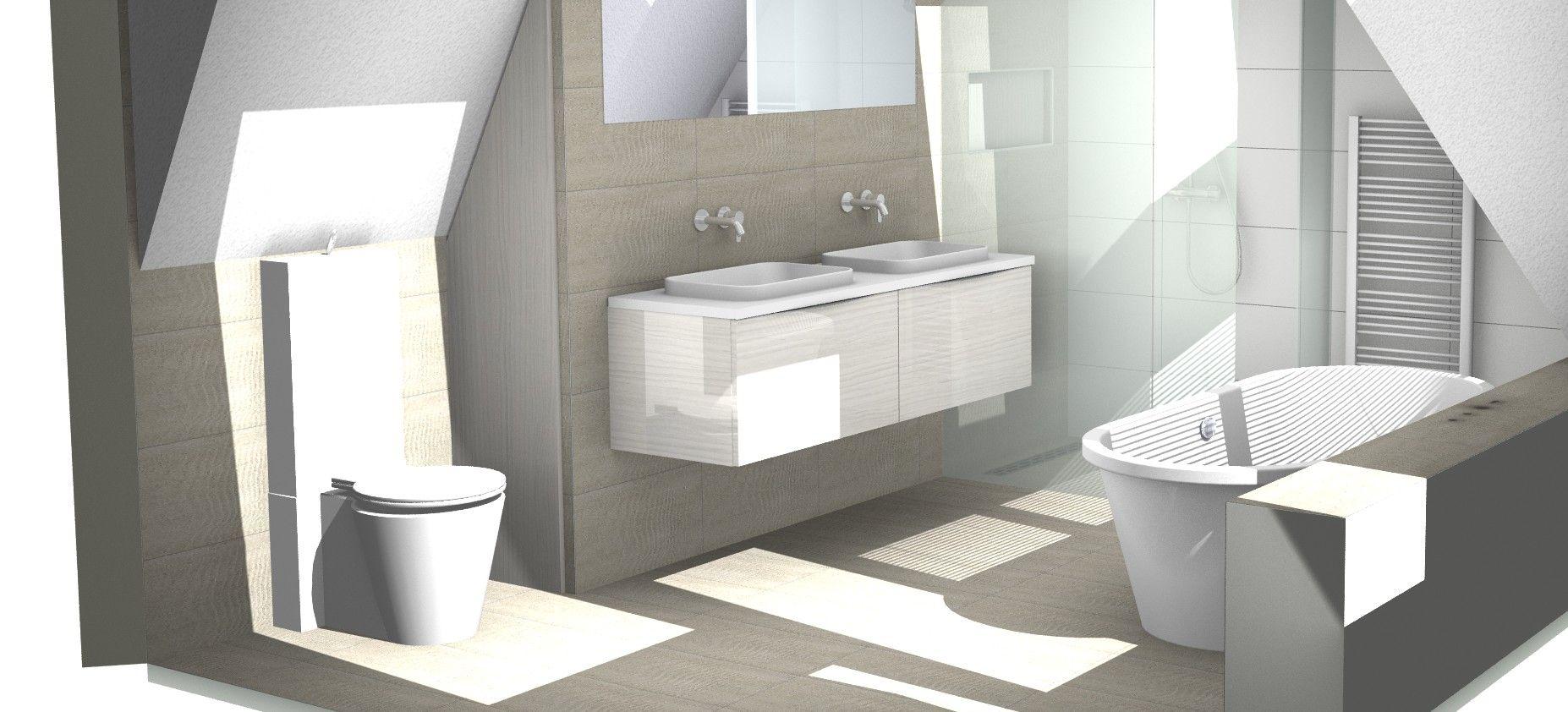 Badkamer op zolderverdieping onder schuin dak | 3D badkamer ...