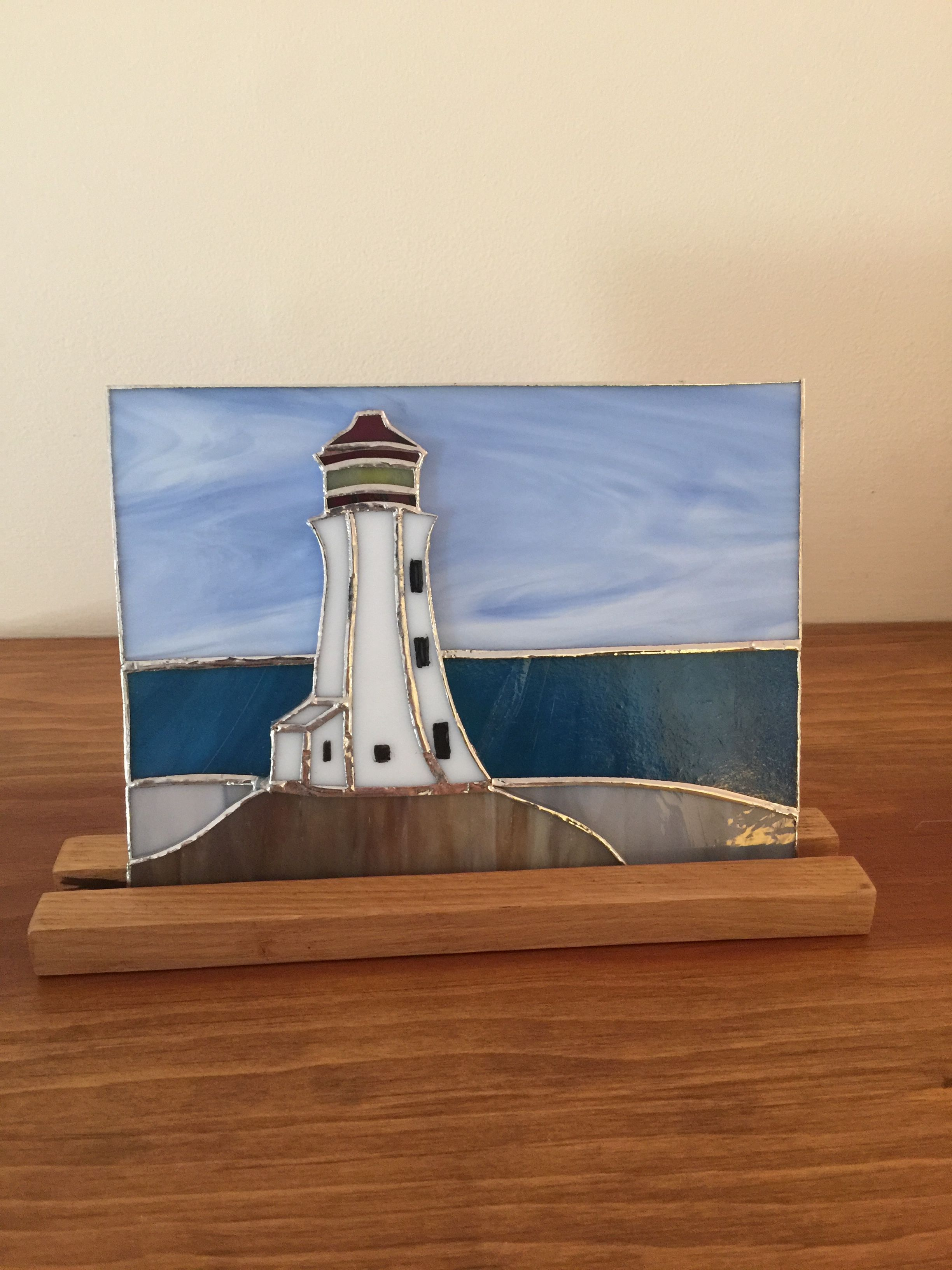 Stained Glass Panel Of Peggy S Cove Lighthouse Nova Scotia Canada Stainedglasspanels Sea Glass Art Projects Beach Glass Art Stained Glass Crafts