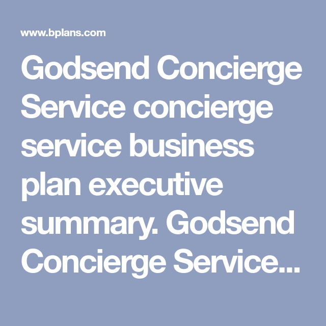 Send Concierge Service Business Plan Executive Summary Is A Full Serving The