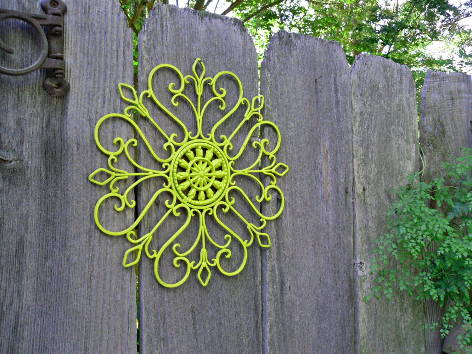 Wrought iron outdoor decor - Metal Wall Decor Lime Green Painted Wall Art Patio Decor Wrought Iron