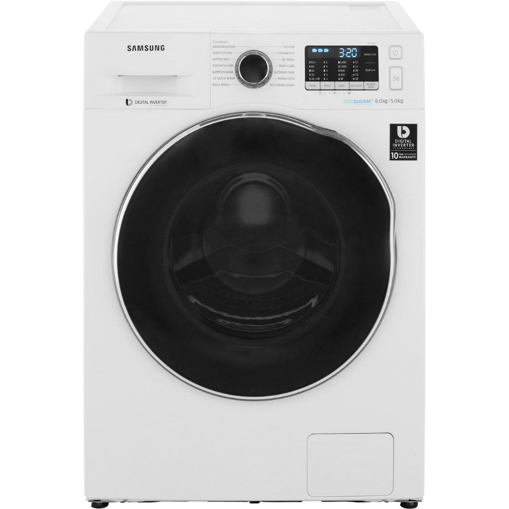 Samsung Ecobubble Wd80j5a10aw 8kg 5kg Washer Dryer With 1400 Rpm White A Rated In 2020 Samsung Washer Washer And Dryer Samsung