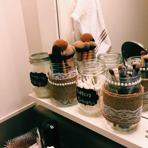 mason jar makeup brush holder. diy lace, pearl and burlap mason jar makeup brush holders! easy simple country holder a