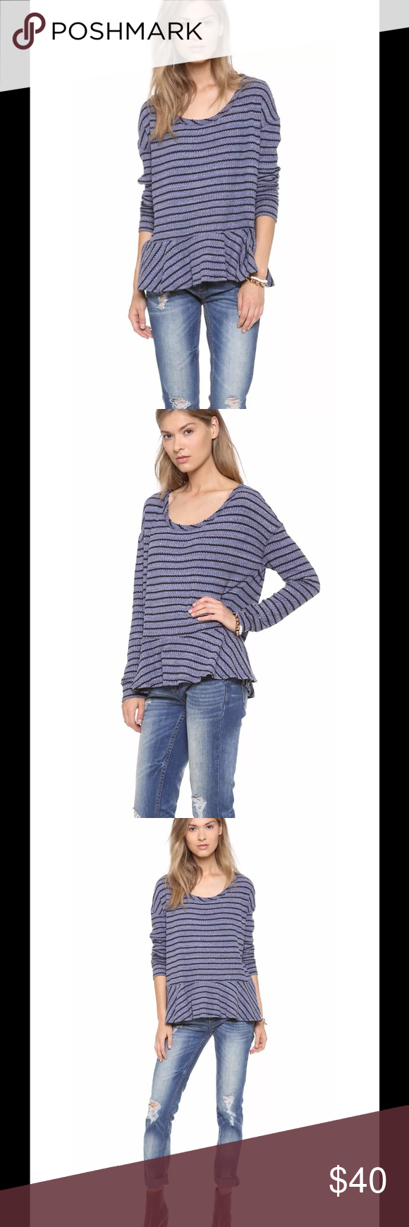 Auntie Em Thermal Peplum Shirt Navy Combo Striped NWT Free People We The Free Auntie Em Thermal Peplum Shirt Navy Combo Striped   Size Medium  This FREE PEOPLE Auntie Em Thermal Peplum Shirt is made from 59% cotton, 34% polyester and 7% rayon in navy combo striped design.  It features long sleeves, distressed unfinished edges, scoop neck, boxy fit, drop shoulders, machine washable and is brand new with tags! MEASUREMENTS:   Pit to Pit:  20in. Length (Top of Shoulder to Hem):  25in. Sleeves…