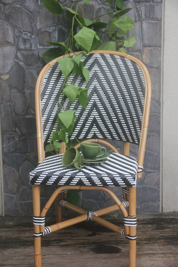 Rattan Black And White French Bistro Style Chair/black And White Hand  Crafted Rattan Chair/rattan
