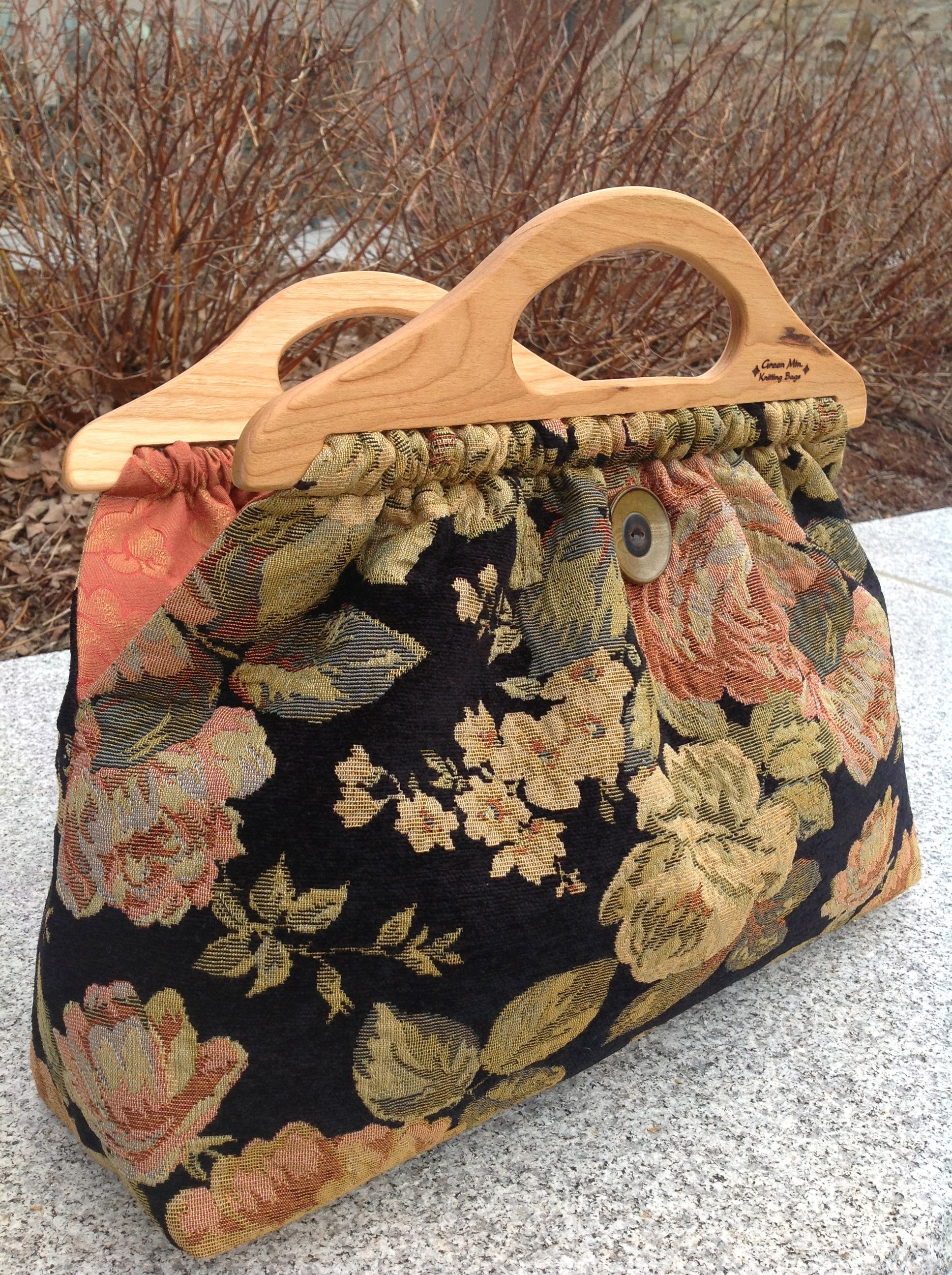 Cabbage Rose Chenille Upholstery Fabric Knitting Tote Bag Knitted Bags Quilted Bag