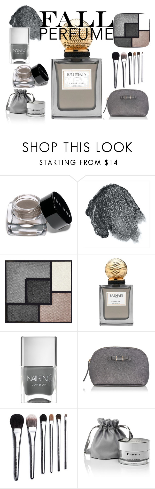 """""""Ambre Gris Fall Perfume"""" by ruthy-md ❤ liked on Polyvore featuring beauty, Bobbi Brown Cosmetics, Anna Sui, Yves Saint Laurent, Balmain, Nails Inc., Oasis, Elemis, Silver and gris"""