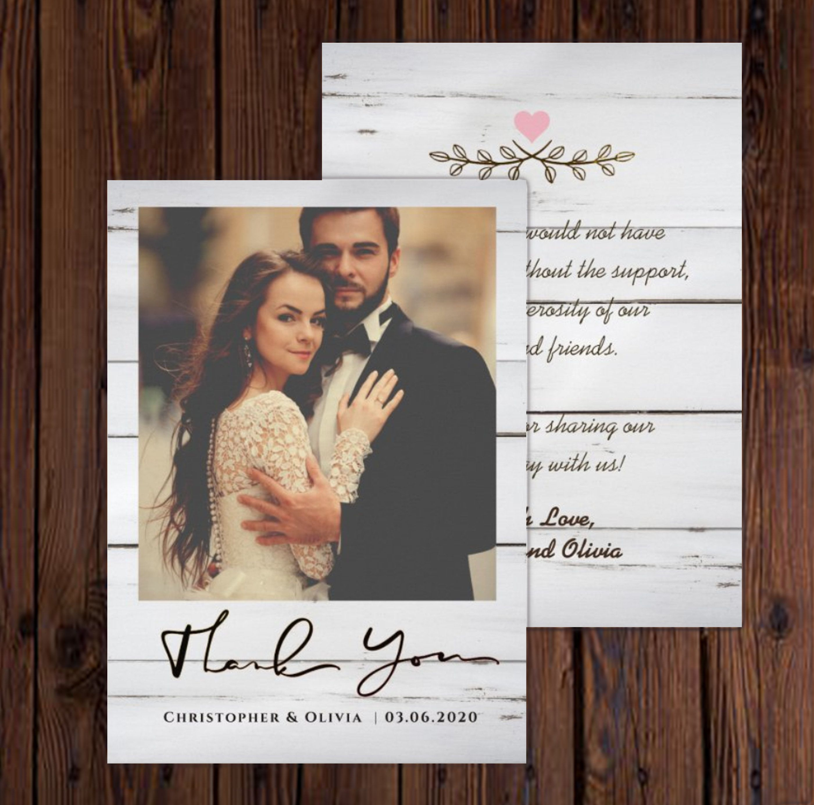 Rustic Wedding Thank You Cards With Photo Photo Thank You Etsy In 2020 Wedding Thank You Cards Wedding Thank You Rustic Wedding Cards