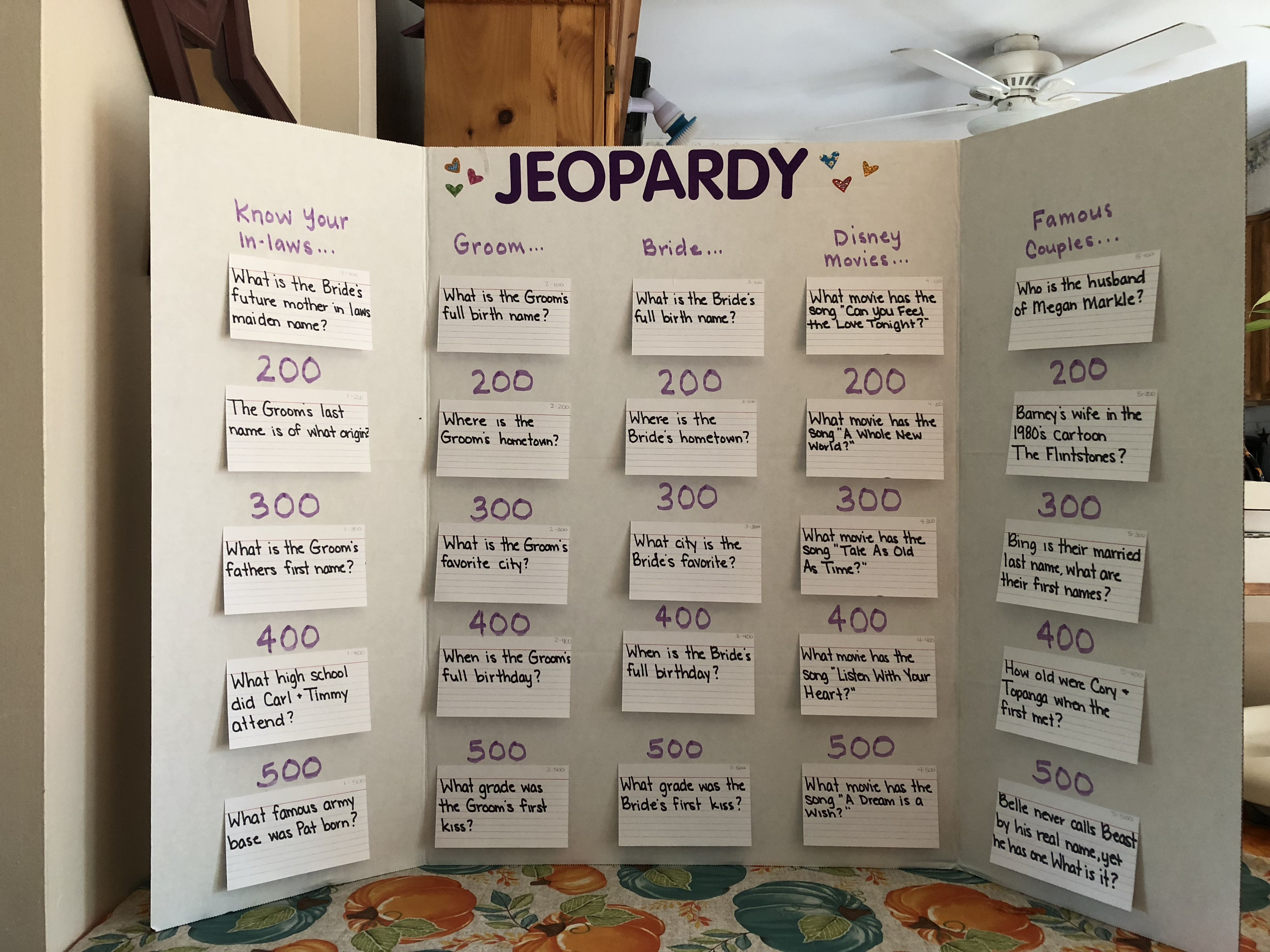 Bridal Jeopardy Couples Bridal Shower Fun Bridal Shower Games