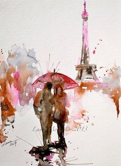 Paris in Bloom Watercolor Original Illustration - Travel Paris Red Umbrella Watercolor Painting