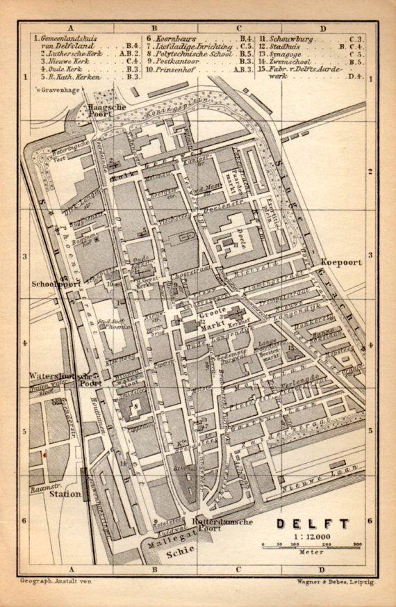 1897 Delft Netherlands Antique Map Vintage Lithograph The Hague