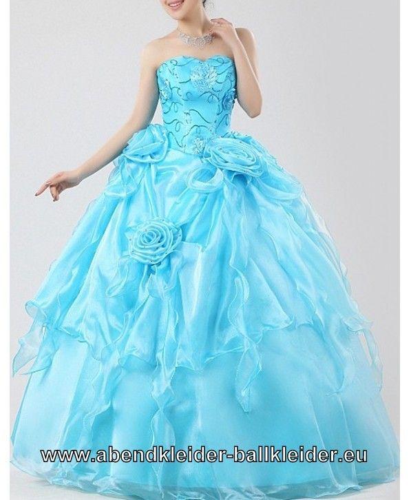Blumen Kleid Ballkleid in Hell Blau