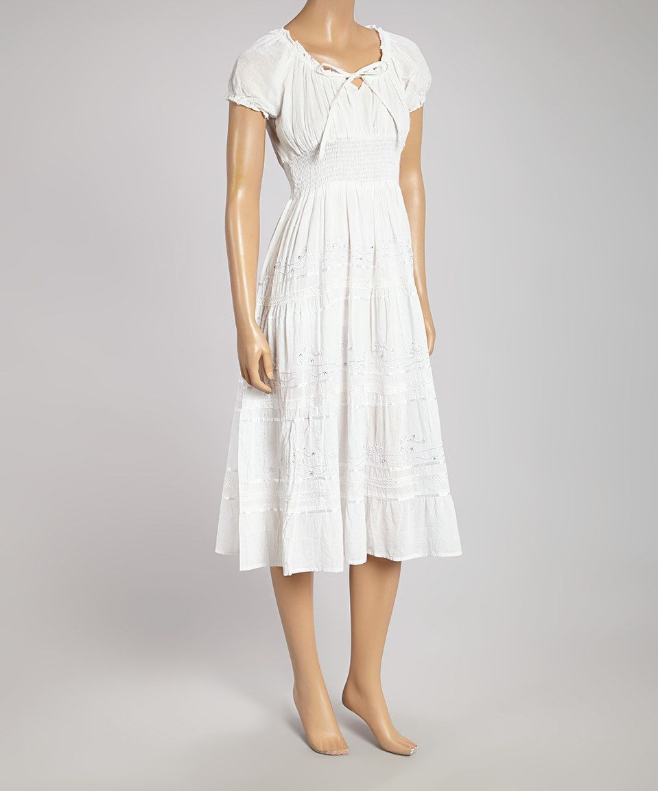This White Peasant Dress By Is Perfect Zulilyfinds White Peasant Dress Peasant Dress Peasent Dress [ 1152 x 959 Pixel ]