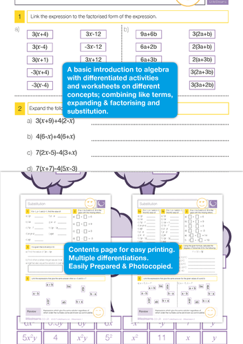 Algebra Understanding and Manipulating Worksheets (With