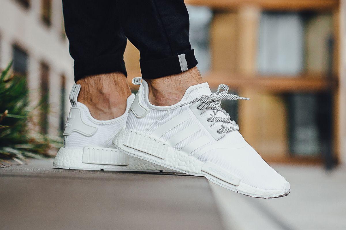 On Foot Adidas Nmd R1 Triple White Eu Kicks Sneaker Magazine Nmd Adidas Women Adidas Women Adidas Nmd
