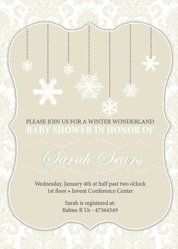 Elegant Winter Wonderland Baby Shower U2013 Invitations