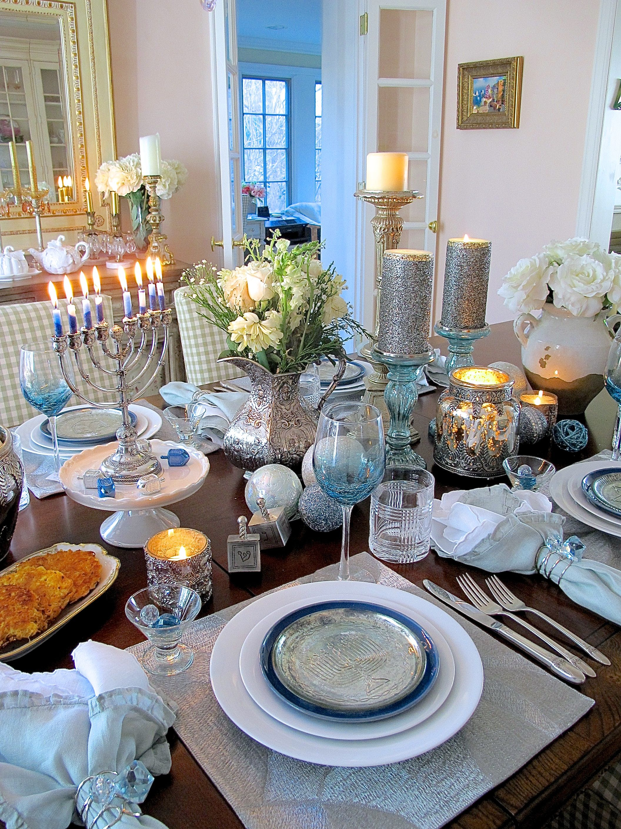 Candlelit Festival of Lights Hanukkah Table Setting