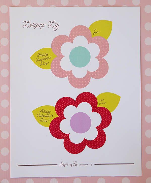 Lollipop Flower Valentine Printable Recipes Valentines