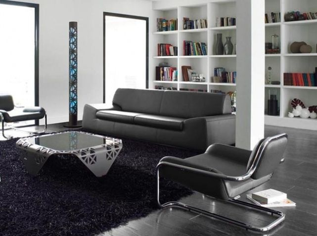 Salon noir blanc fauteuil cuir steiner | Deco Babs | Pinterest ...
