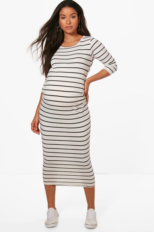 Papaval Womens Ladies Maternity Long Midi Maxi 3/4 Sleeve