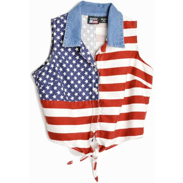91bcf76aa9 Vintage 90s American Flag Crop Top Stars Stripes Shirt women s... ( 36) ❤  liked on Polyvore featuring tops