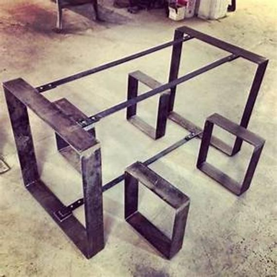 One Table And Two Benches Steel Legs Handmade Metal Base For