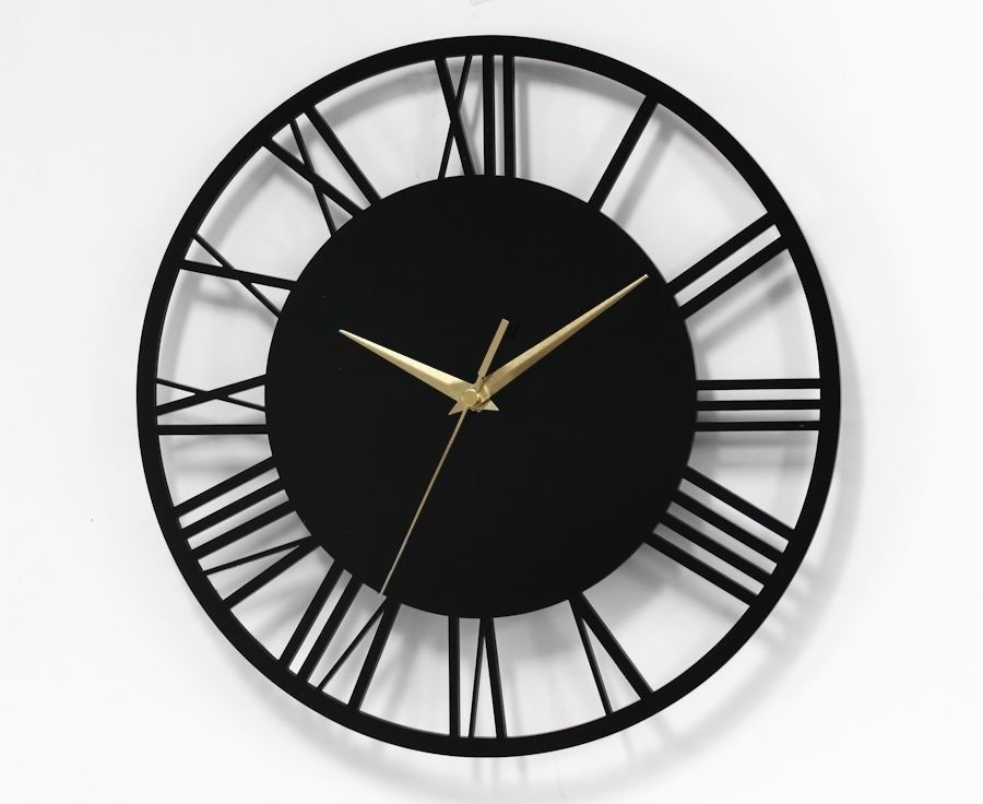 Round Skeleton Roman Numeral Wall Clock 30cm Modern Home Minimal Kitchen Clock Minimalist Clocks Wall Clock Clock
