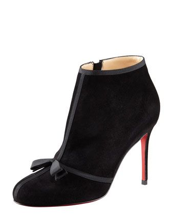 Arnoeud Grosgrain-Bow Suede Ankle Boot by Christian Louboutin
