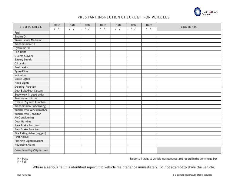 vehicle prestart checklist Checklist, Inspection