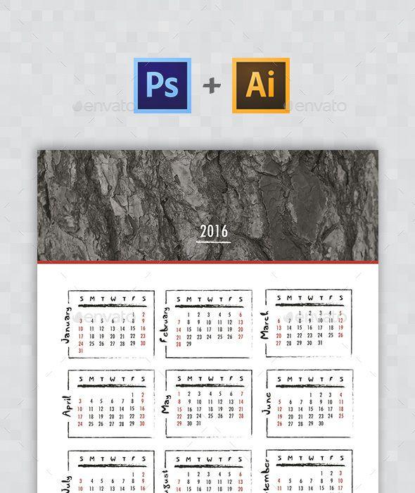 Handwritten Calendar 2016 Calendars 2016 Graphics And Print Templates