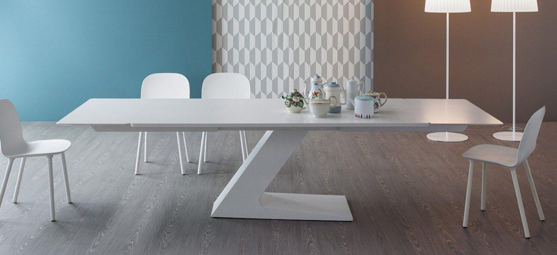 TL: tavolo allungabile 200/300x100 cm – piano laccato bianco opaco ...