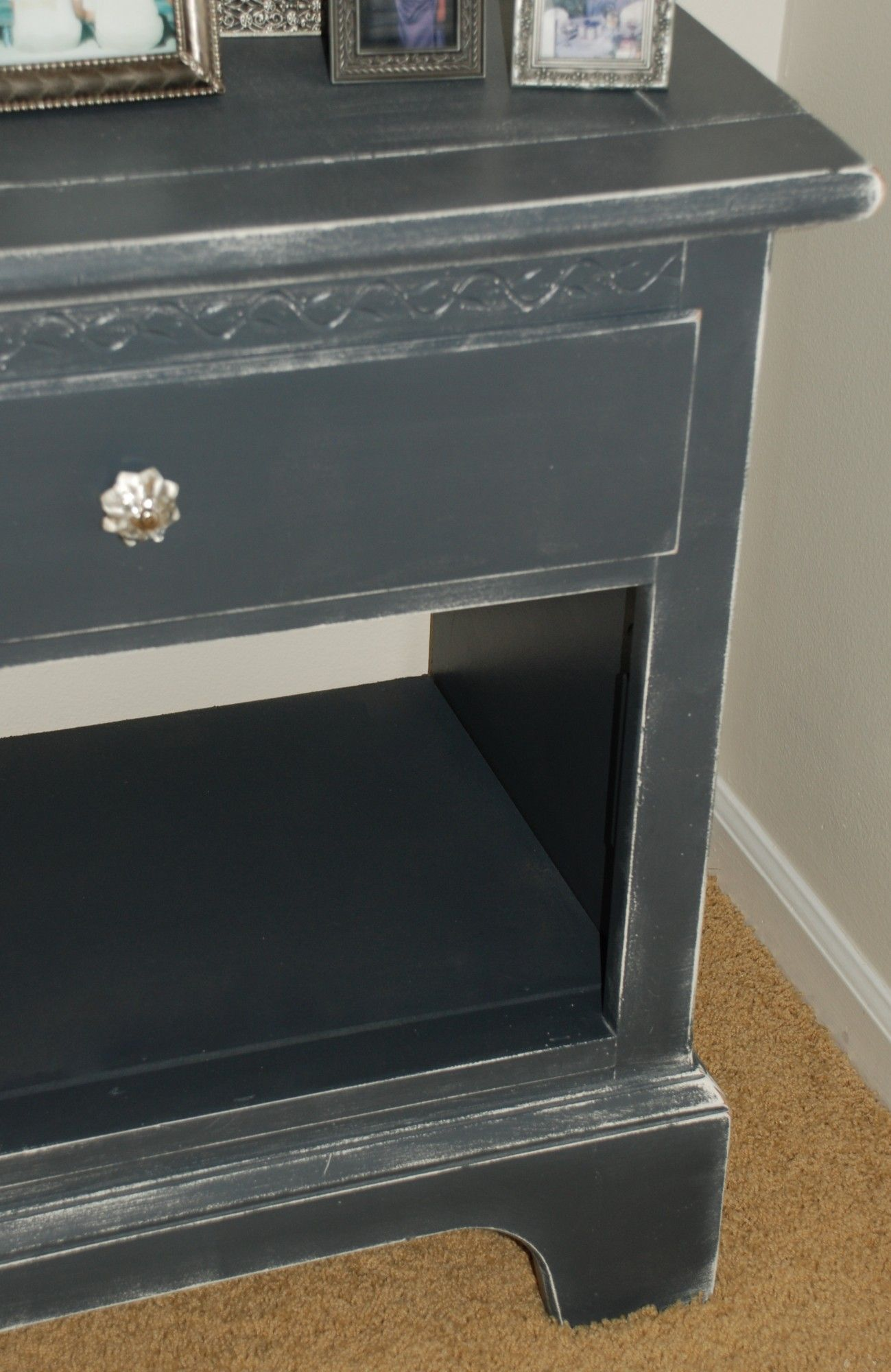 Nightstand In Distressed Black Aspen Gray Before After