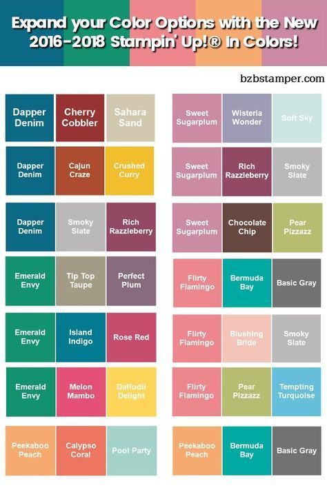 2017 2018 Su Colours Color Combos Stampin Up Color Schemes