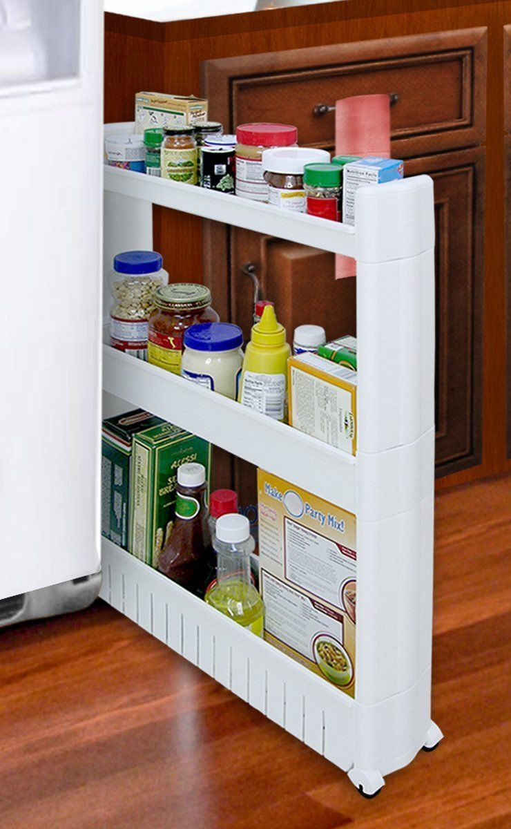 Large Slim Rolling Slide Out Kitchen Bath Or Laundry Storage Cabinet Organizer Kitchen Storage Hacks Small Kitchen Storage Storage