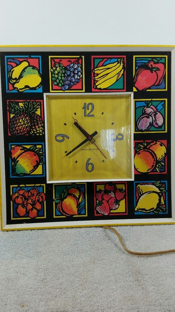 WORKING MCM vintage general electric wall clock kitchen art deco ...