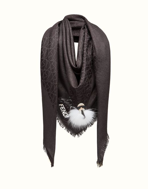 FENDI SHAWL - in black embroidered silk and wool