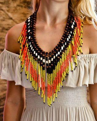 Native American Necklace - Orange