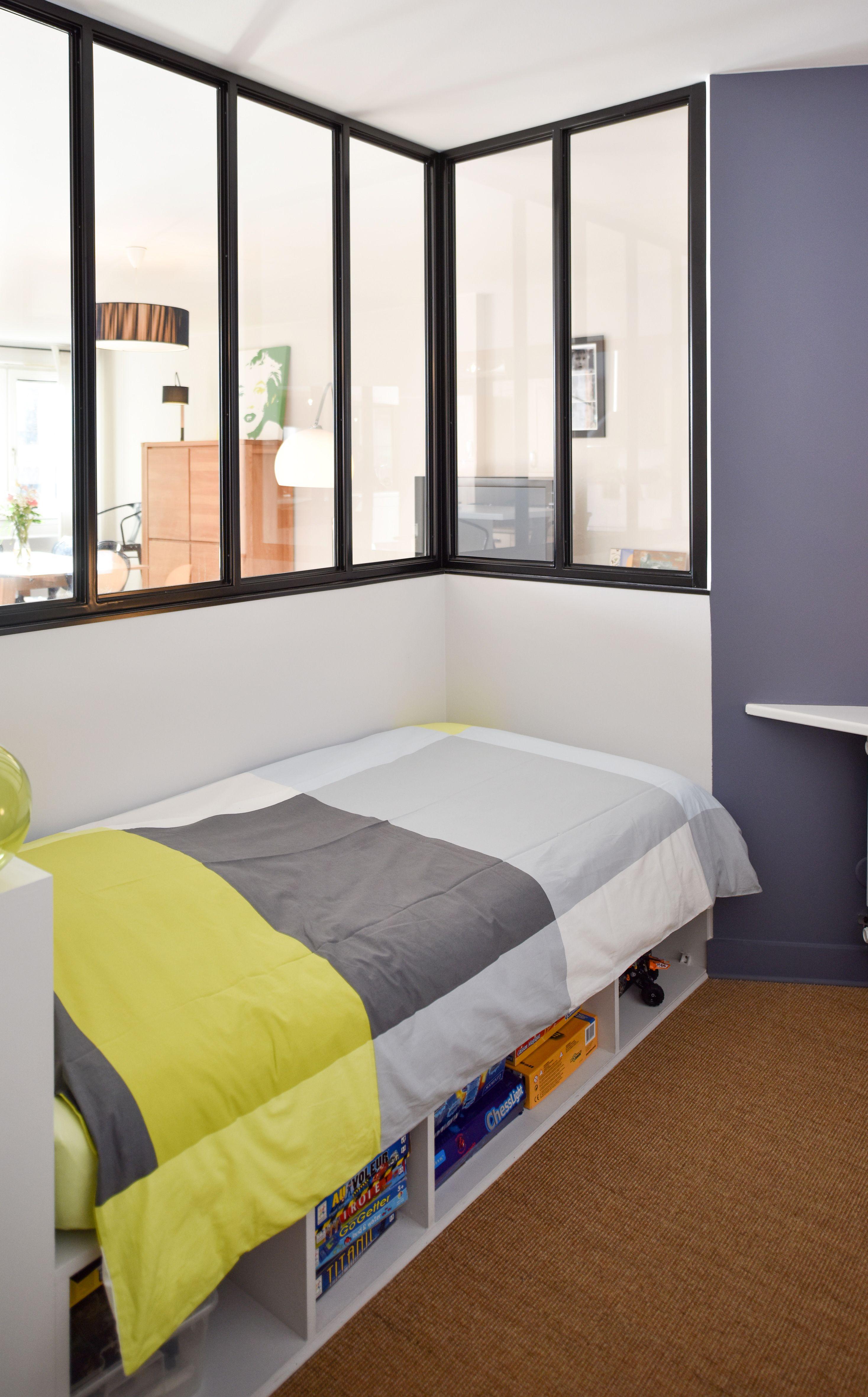 Chambre avec verrière intérieure - maison à Villeurbanne réaménagée ...