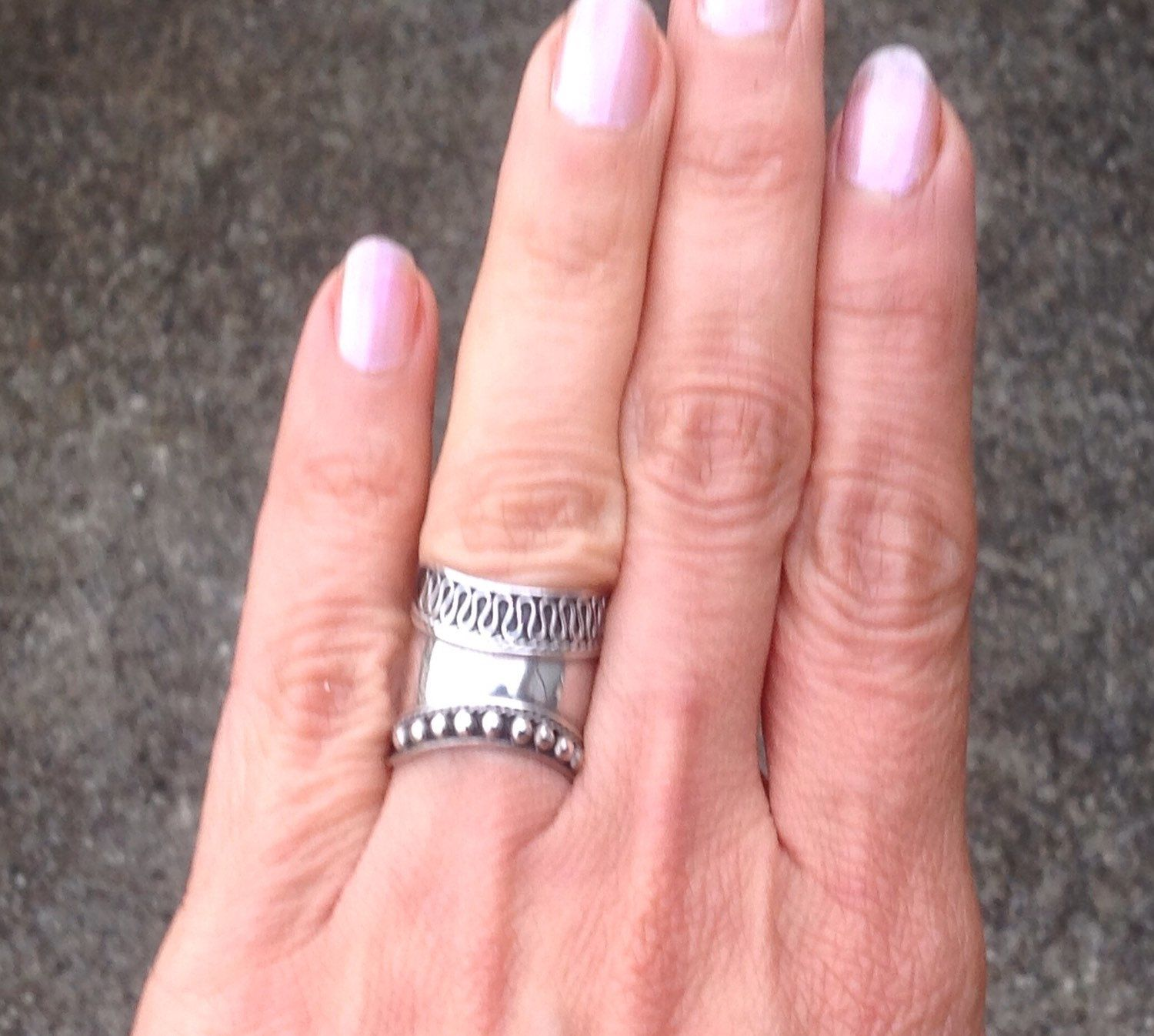 Sterling Silver Ring, Wide Band Ring, Vintage Silver Ring, 925 Band ...
