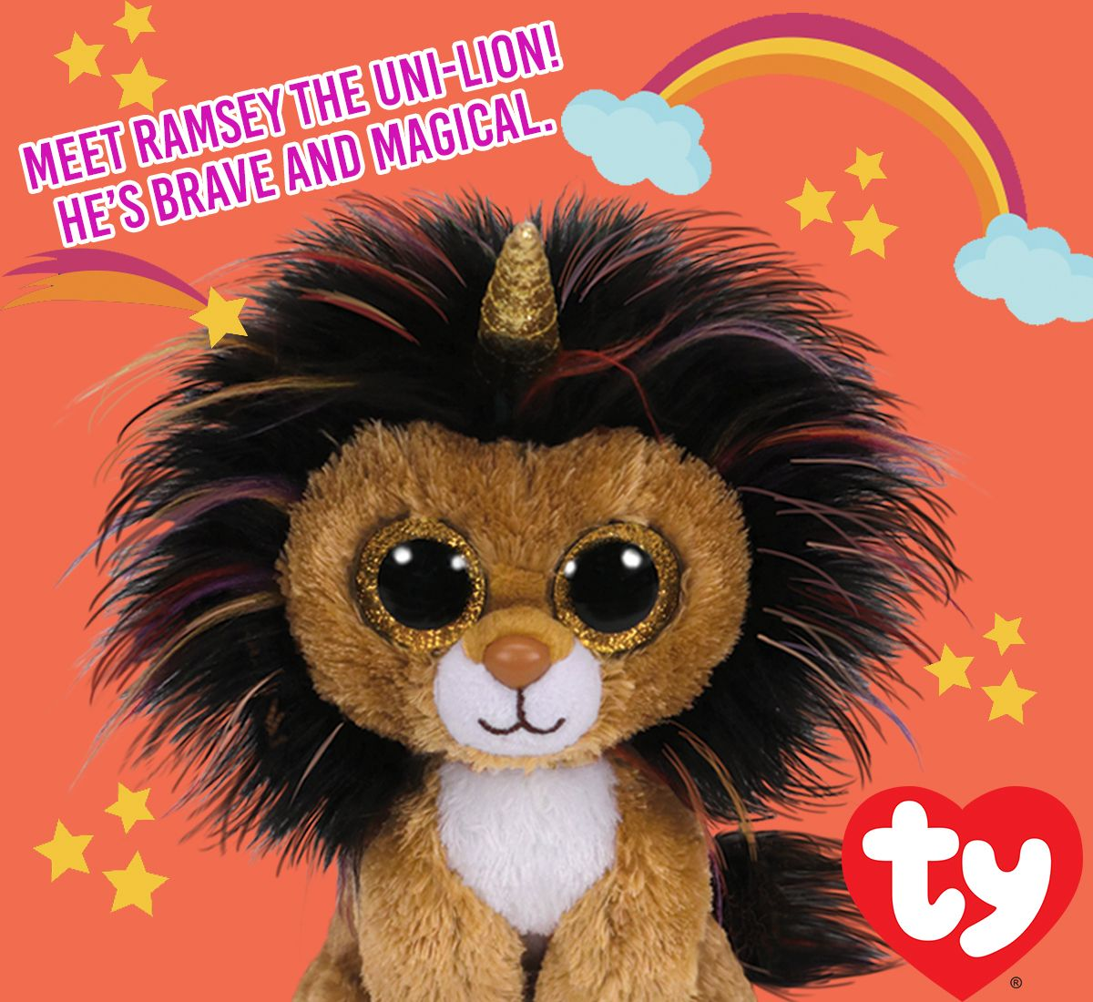 Meet Ramsey the Uni-Lion! He s Brave and Magical! Ty Beanie Boo ... 356f0121595
