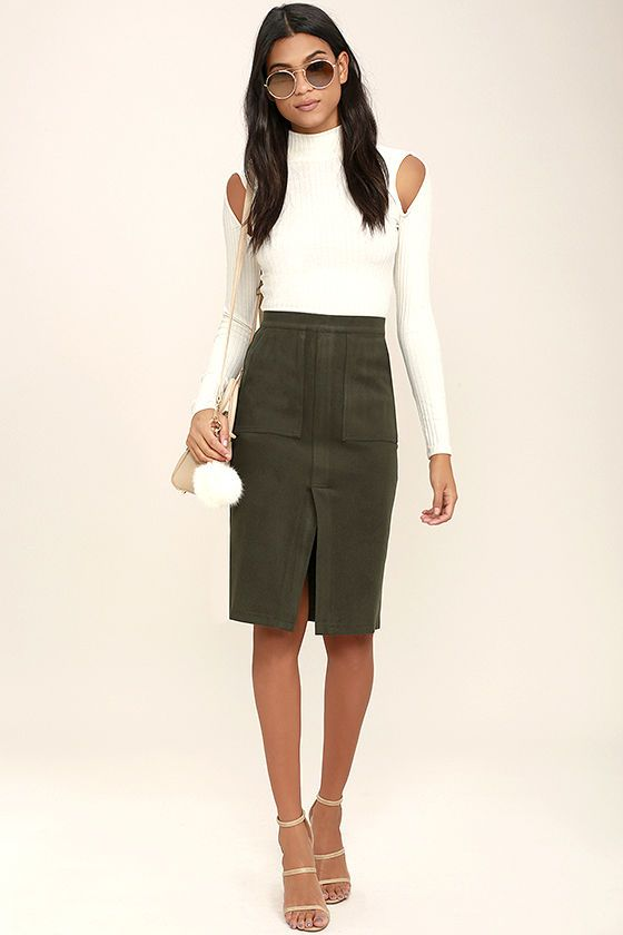 b78226585f71 Irresistible in every way, the JOA Jolene Olive Green Pencil Skirt will be  your favorite staple! Thick and stretchy medium-weight felted fabric starts  at a ...