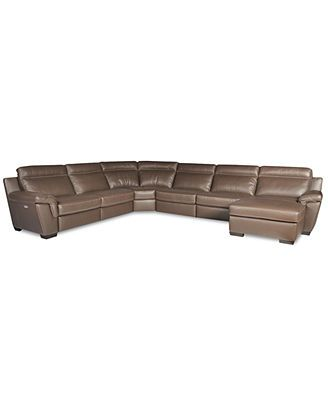 4k Julius Leather Power Motion Chaise Sectional Sofa 6 Piece